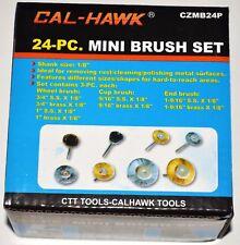 "New 24 PC Mini Wire Wheel Brush Set 1/8"" Shank Brass Cup Wheel DREMEL Drill"