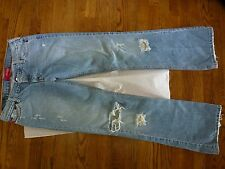 Hollister Denim Jeans size 7 33 Destroyed Flare Ripped Holes Button Fly/up Blue