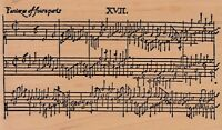 """music notation tin can Wood Mounted Rubber Stamp  5 1/2 x 3 1/2""""  Free Shipping"""