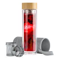 Teeflasche aus Glas mit Sieb Edelstahl Teekanne Tea to Go Trinkflasche Thermo