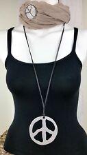 Mode Kette lang Peace Silber Hals Anhänger Modeschmuck Lagenlook Lederimitat NEU