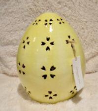 Pottery Barn PIERCED CERAMIC EASTER Egg ~ MEDIUM ~ Yellow ~