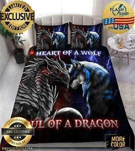 Dragon heart of a wolf soul of a dragon bedding set