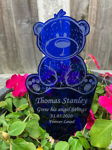 Personalised Blue Teddy Bear Memorial Grave Marker Plaque - Baby Child Any Name