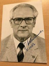 Erich Honecker + DDR  Original sign. Autogrammkarte 1987