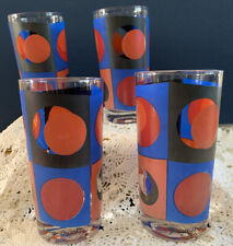 4 Georges Briard 1960's Mod Dot Collins Highball Glasses Red Blue Black Orange