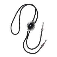 Western Cowboy Black Oval Stone Bolo Tie Rodeo Necktie with Pu Leather Rope