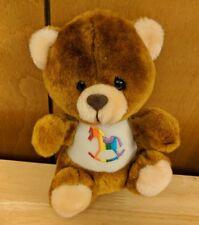"McCrory Corp Stuffed Animal Plush Bear w/ Rainbow Rocking Horse Symbol 7"" Care"