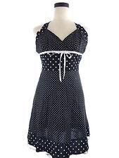 Womens S Finesse Black & White Polka Dot Halter Dress