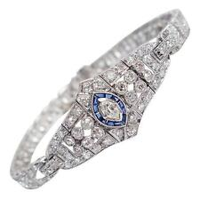 Art Deco Sapphire 4.0 Carats Diamond Platinum Bracelet