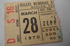 Led Zeppelin Original_1970_Concert Ticket Stub_Dallas_Ex-