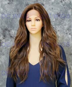 Long Loose Wavy Heat OK Human Hair Blend Lace Front Wig Light Brown/Blonde EVEX