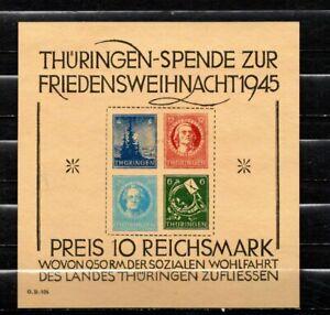 Germany 1945 SBZ Thuringen Christmas souvenir sheet MNH