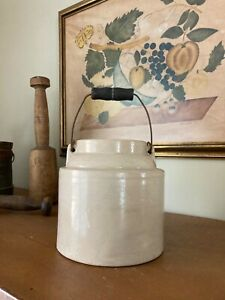Antique / VTG Cream Butter Stoneware Crock w/ Lid & Wire Bale Wood Handle - Mark