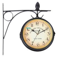 Home Garden Indoor Outdoor Black Station Wall Clock Outside Bracket Double Sided