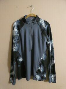 Athleta Women's XL Running Wild 3.0 Half Zip Pullover Long Sleeve Blue & Black