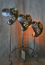 Heart Candle T-light Nickle Plated Iron Set of Two pcs 30x9x36cm