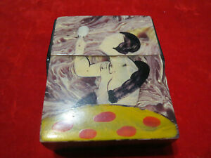 Bakelite cigarette box art deco portrait of a woman erotic object