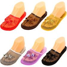 Womens Chinese Mesh Slippers Slides Slip On Sandal House Shoe Floral Sequin Bead