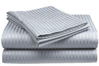 King Size Silver/Gray 400 Thread Count 100% Cotton Sateen Dobby Stripe Sheet Set