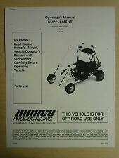 Manco Model 415-391 415-241 Go Kart Parts List Operators Manual Cart