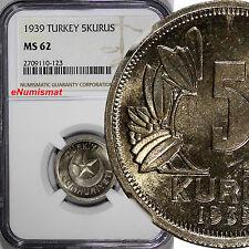Turkey Copper-Nickel 1939 5 Kurus NGC MS62 Star within crescent KM# 862