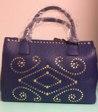 Emma Fox Lakeside Large LEATHER Studded Satchel in BLUE -New