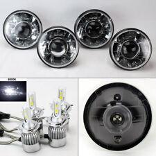 "FOUR 5.75"" 5 3/4 Round H4 Clear Projector Headlights w/ 36W LED H4 Bulbs Dodge"