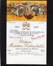 PAUILLAC 1EGCC ETIQUETTE CHATEAU MOUTON ROTHSCHILD1987 37.5 CL DECOREE§12/06/17§