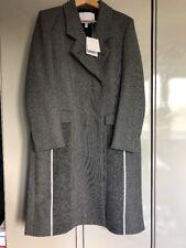 Nicole Farhi Long Grey and Black Long Coat UK 14 Double Lined 100 Wool