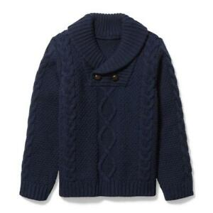 JANIE and JACK Boy Connor Navy Shawl Collar Sweater NWT - Size 10 #100036354