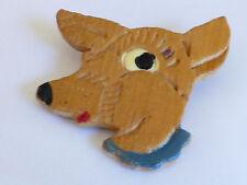 VTG 1940s Hand Carved handpainted Wood Deer head Pin Brooch