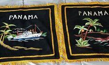 Vintage Panama Black Velvet Souvenir Pillow Cover  Pillowcase Fringed Edge