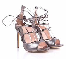 """3 Color Lace up Ankle tie Womens 4.5"""" Stiletto Open toe High Heels Sandals"""