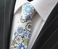 Tie Neck tie Slim White with Blue & Olive Floral Quality Cotton T6113