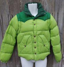 Vtg Powderhorn Mountaineering Down Jacket Zip off Sleeves Green MEDIUM USA Made