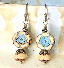 Bronze, Beige and Turquoise Flower Picasso Earrings.