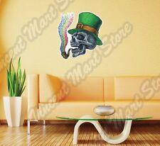 "Irish Leprechaun Skull Smoking Rainbow Wall Sticker Room Interior Decor 21""X25"""