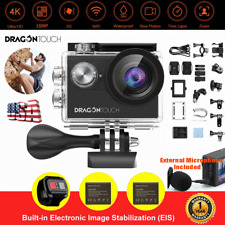 Original Dragon Touch Vision 4 waterproof 4K 16MP Sport Action Camera Camcorder