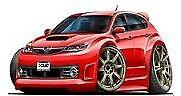 2008-2011 Subaru WRX STI Hatchback Lightning Red 2009 2010 t-shirt sizes S-3XL