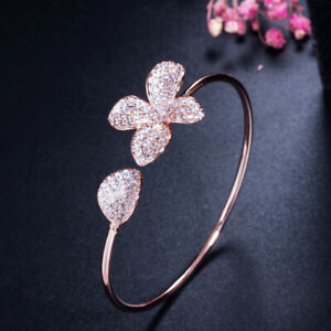 Elegant Adjustable Rose Gold Open Cuff CZ Crystal Flower Bangle for Women Party