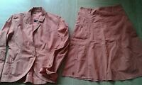One step  - Tailleur jupe coton et veste orange clair excellent état- T.38 36
