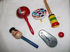5 New Years Party Noisemakers Tin Rachet & Wood Rattle or Snap Styles-Colorful!