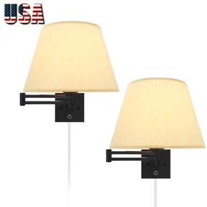Swing Arm Wall Lamp Plug in Wall Mount Opaque Beige Linen Shade 2-Light