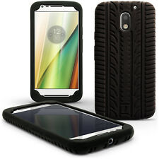 Black Tyre Silicone Gel Skin Case for Motorola Moto E 3rd Gen 2016 Rubber Cover