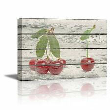 "Canvas Prints Wall Art - Red Cherries on Wood Background - 24"" x 36"""