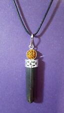 Black Tourmaline Rudraksha Pendant Necklace, God Faced, Energy Reiki Charged a1