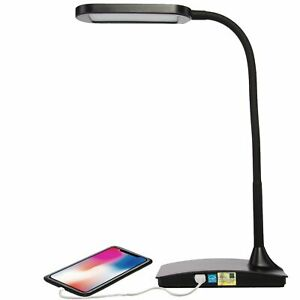 LED Desk Lamp with USB Charging Port 3-Way Touch Switch Dorm Room Office Black