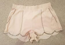 New H&M Peach Pink Nude Silver Sequin Beaded Scallop Edge Shorts Hotpants Sz 10