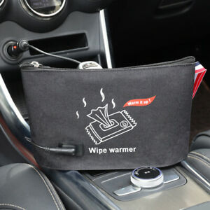 Car Auto Portable Baby Wipe Heater Napkin Pouch Thermostat Heating Black